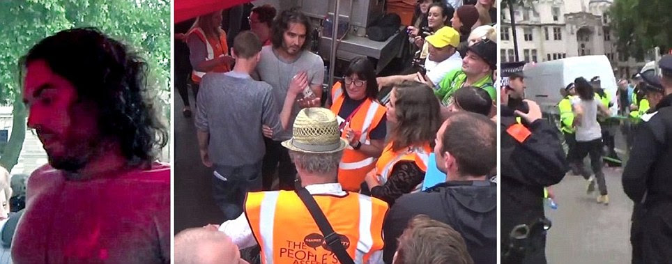 Russell Brand told to 'F*** off back to Miliband' by anti-austerity protesters