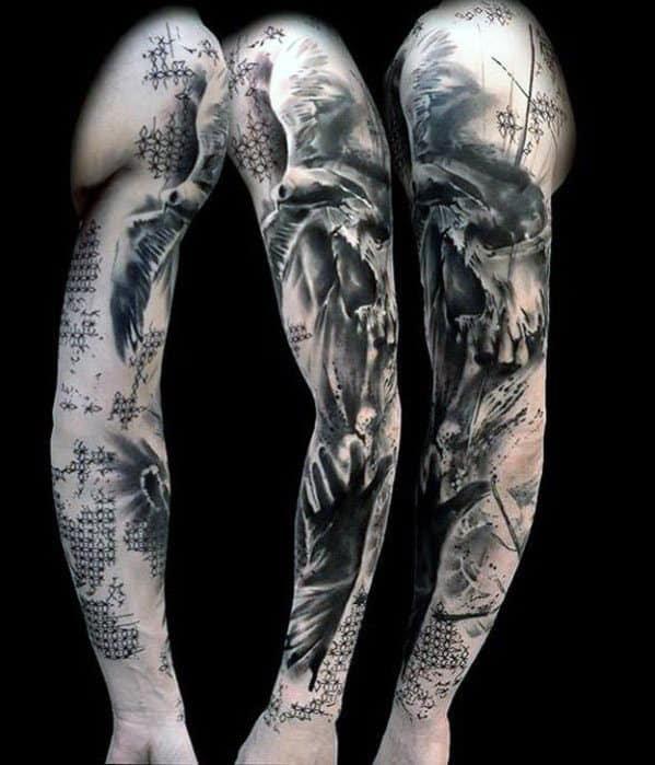 Meia manga abstrata tatuagens para homens