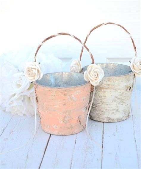 Set of 2 Flower girl basket   boho chic / rustic wedding