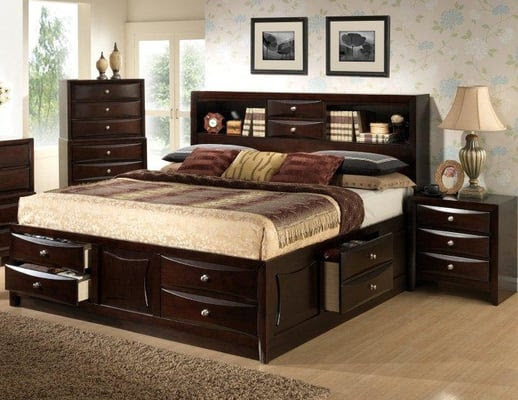 Large double drawer storage bed with bookcase headboard available ...