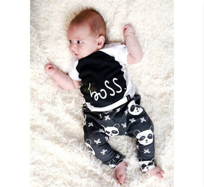 2016 new baby boy clothes cool panda short sleeve girl baby rompers newborn clothes baby costume