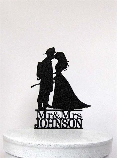 Personalized Wedding Cake Topper Firefighter and Bride
