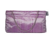 Elegant Bridal Clutch - Flex Frame Purse in Shimmer Lilac - Purple Silk