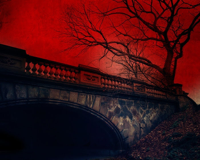 Landscape Photography - New York Photography - Vampires - Crimson Red Decor - Central Park NYC - Gothic Art - 8x10 Print - Vampire's Rest - TheLonelyPixel