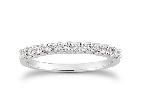 shared prong diamond wedding ring band   white gold