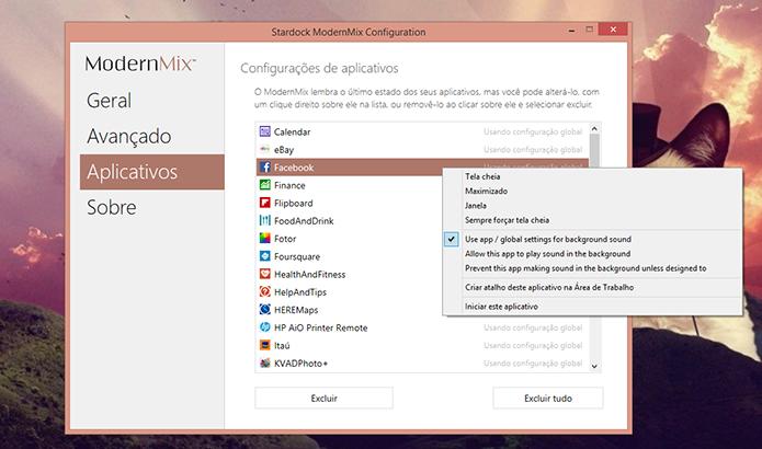 ModernMix oferece a opção de escolher individualmente como cada app deve ser aberto (Foto: Reprodução/Elson de Souza)