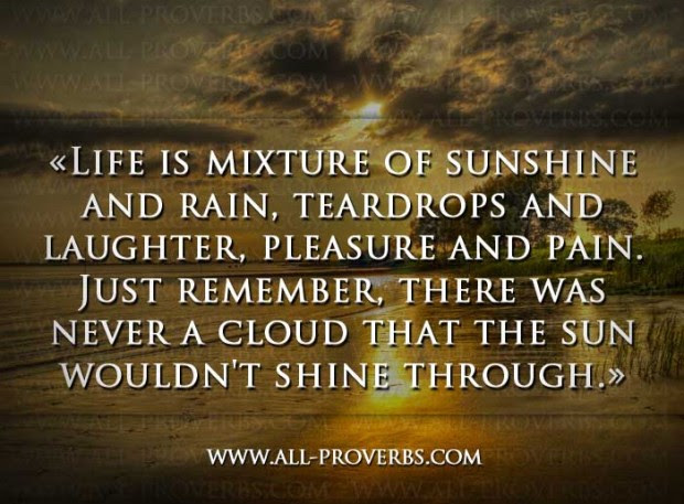 Life Is Mixture Of Sunshine And Rain Teardrops And Laughter Please