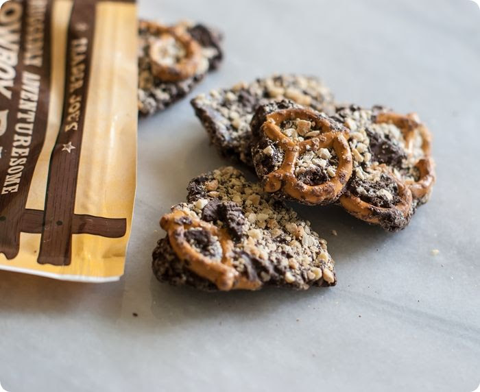 trader joe's cowboy bark review: chocolate, toffee, pretzels, peanuts...YUM!