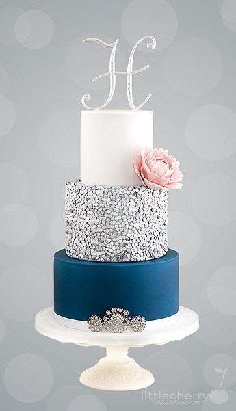 Navy Blue and Silver Sequin Wedding Cake by Little Cherry