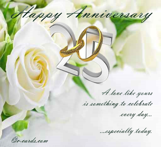Silver Wedding Anniversary Free To A Couple Ecards Greeting