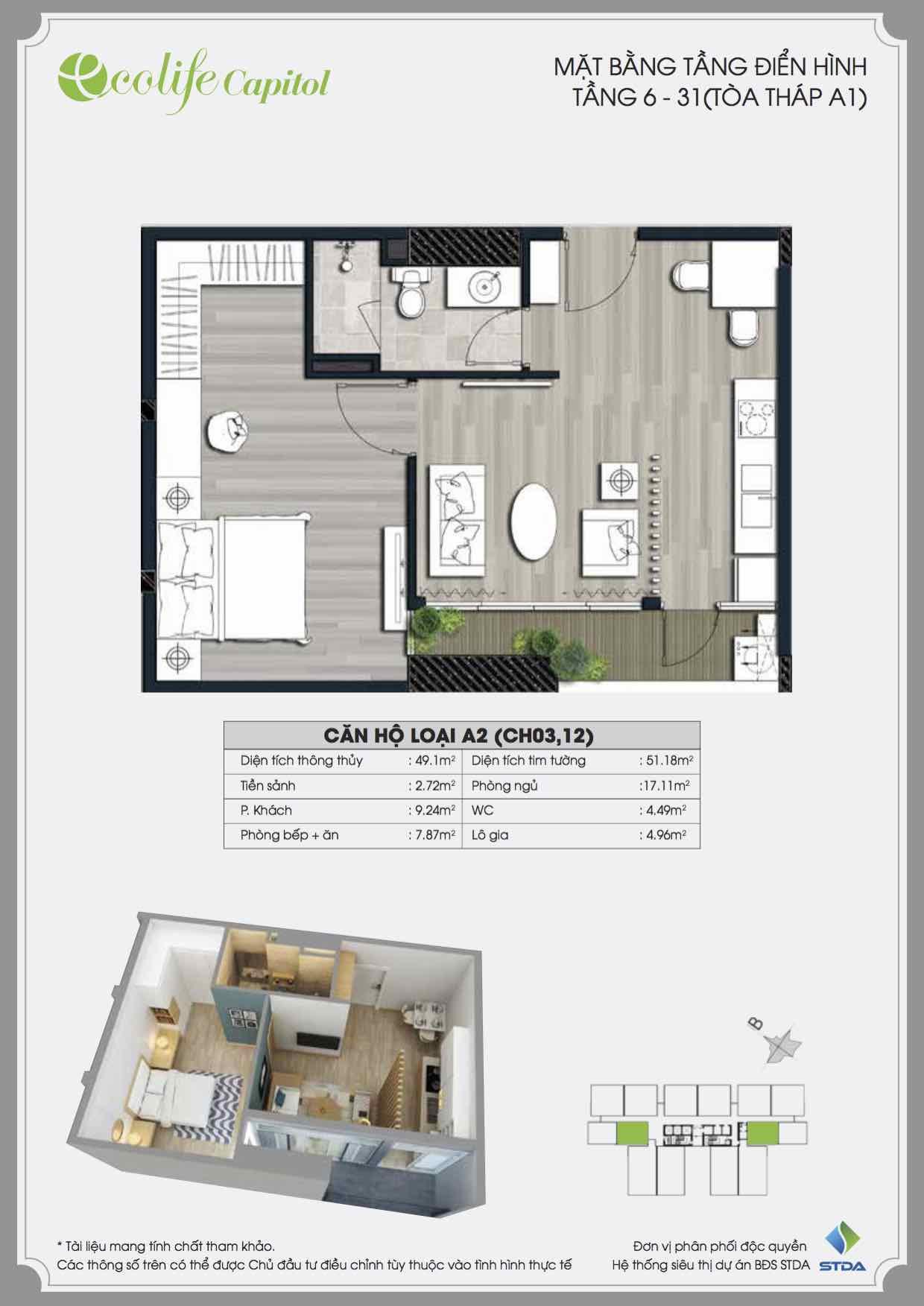 Thiết kế căn hộ A2 Ecolife Capitol