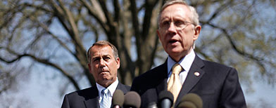 (L-R) House Speaker John Boehner and Senate Majority Leader Harry Reid (AP)