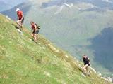 Climbing high on Mullach Froach-choire, the first summit - Photo: Ellen Homewood