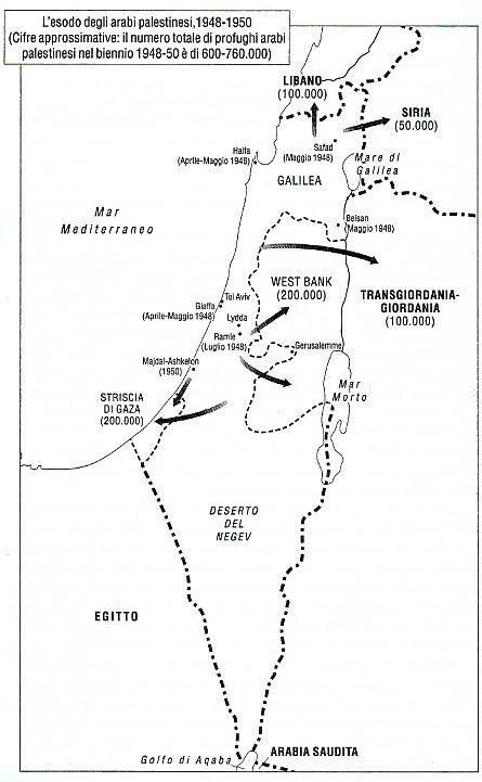 """Mappa dell'esodo arabo da Israele tratta dal libro di Benny Morris """"1948, Israele e Palestina tra guerra e pace"""""""