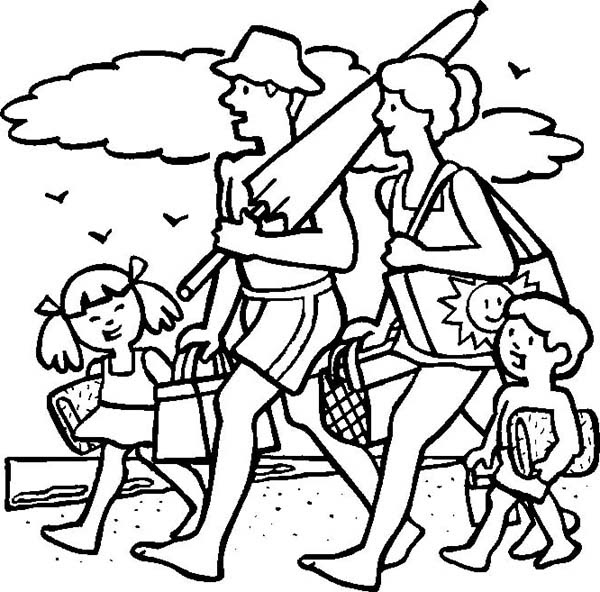 A Cheerful Family on Their Beach Vacation Coloring Page ...