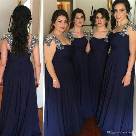Plus Size Navy Blue Chiffon Long Bridesmaid Dresse Beaded