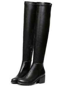 Black Chunky Heel PU High Boots