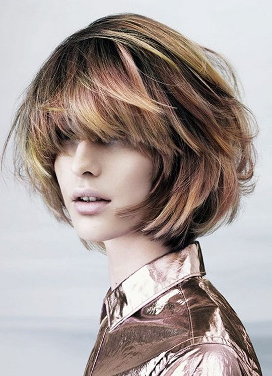 Short Haircut for 2014 - Stylish Highlighted Messy Bob Hairstyle