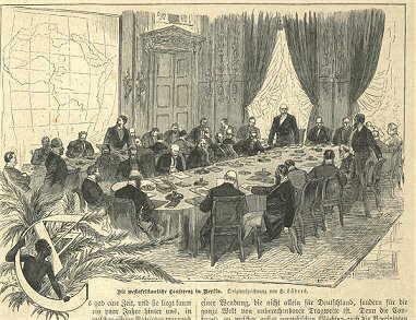 O Congresso de Berlim, em gravura da época
