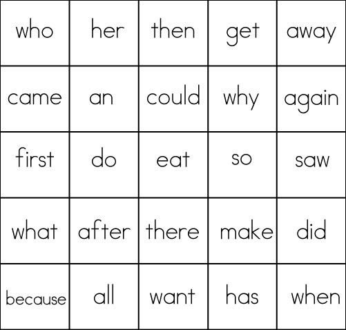 List 3 Sight Word Bingo Card 1
