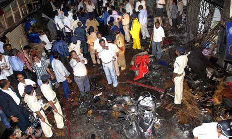A general view of of the blast site near the Opra house Mumbai