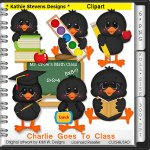 Charlie Goes To Class Clipart - CU