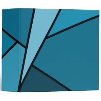 Abstract Teal Polygons Binders