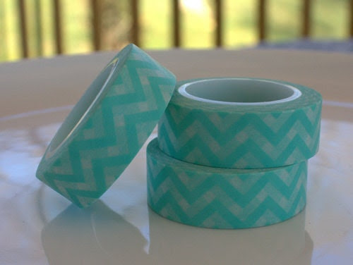 Aqua Chevron Washi Tape