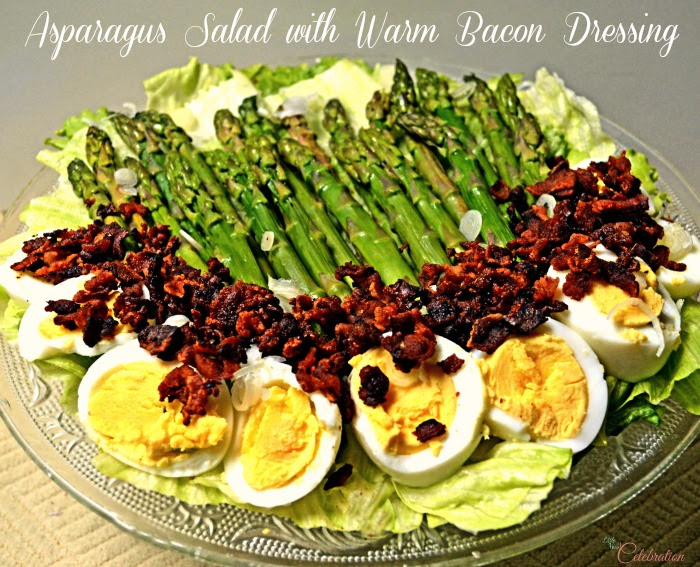 Asparagus Salad with Warm Bacon Dressing - a vintage recipe inspired, fun take on summer salad! At Little Miss Celebration