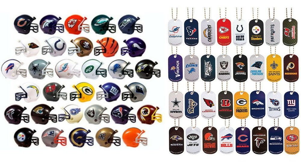 MINI NFL FOOTBALL HELMETS AND DOG TAG KEYCHAINS AND NECKLACES, COMPLETE SETS 32  eBay