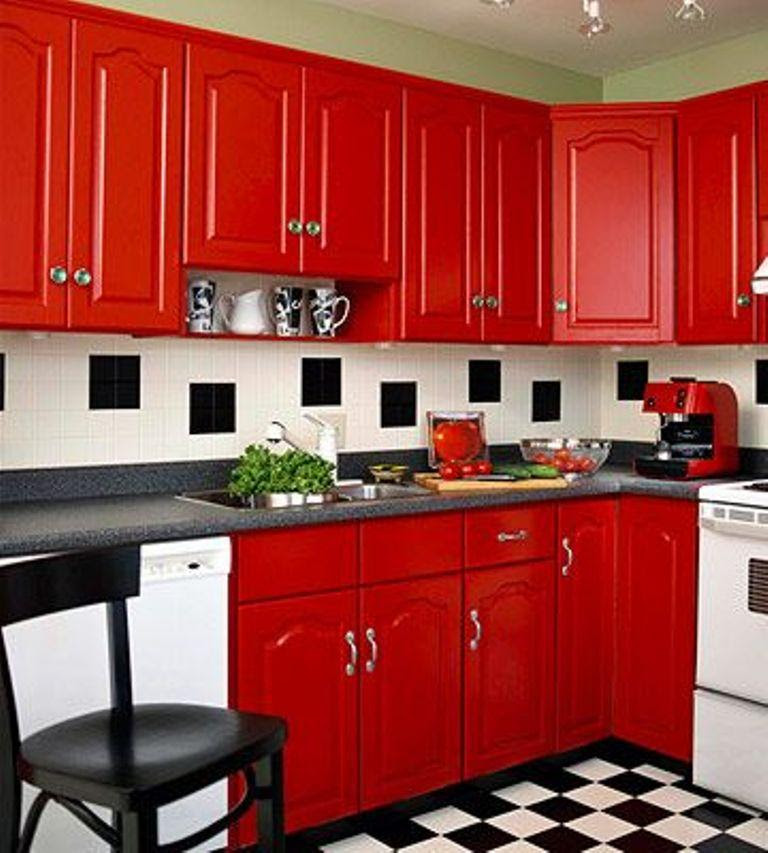 Home Architec Ideas Kitchen Design Red Black White
