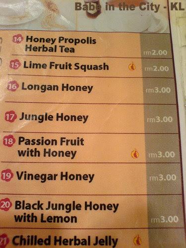 BC - Cold Honey Beverages Menu