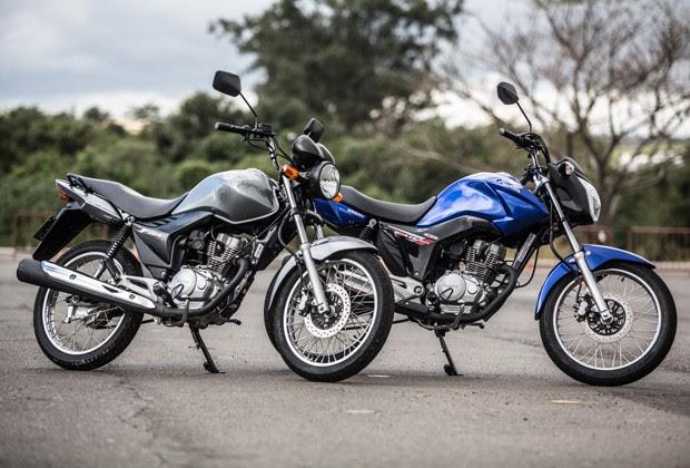 Antiga CG 150 Fan comparada a nova geração (Foto: Raul Zito/G1)