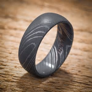 Damascus Stainless Steel Domed Men's Wedding Band Black