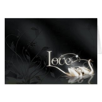 Black Love Swans RSVP Notes card