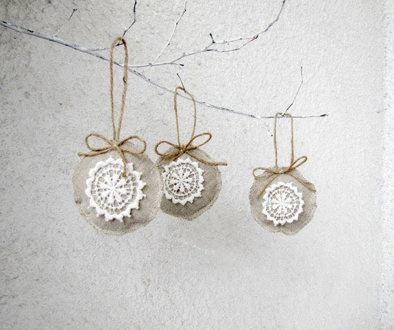 Linen and lace Holiday ornaments, shabby, chic, eco friendly - set of 3
