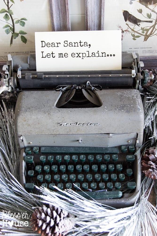 Woodland Christmas Home Tour 2015 Part 1   blesserhouse.com   typewriter