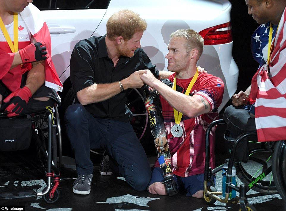 Prince Harry first met Mr Ormrod in 2008 in Headley Court and last night awarded him a silver Invictus Games medal