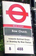 updated bus stop at Bow Church