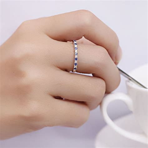 Affordable Diamond and Sapphire Wedding Band on 10k White