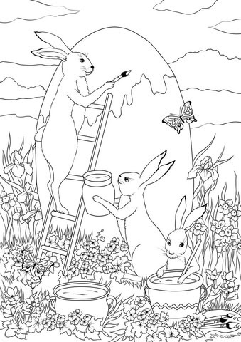 three easter bunnies are painting a huge easter egg coloring page  free printable coloring pages