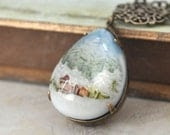 SNOW GLOBE, vintage style hand painted forest and snow resin pear shaped necklace in antique brass - plasticouture