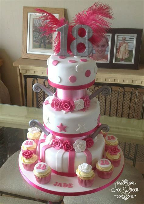 3 tier 18th birthday cake in pink white & silver with