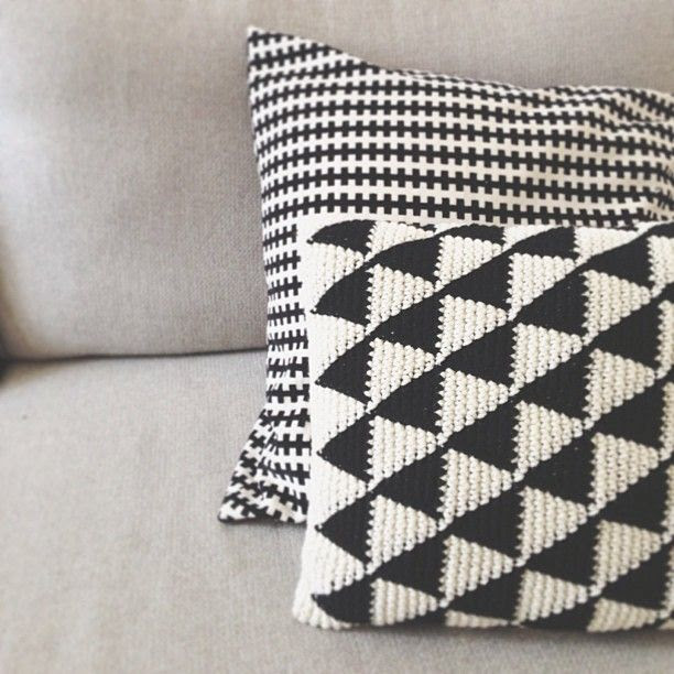 Love. | Black & White crochet triangle cushions.