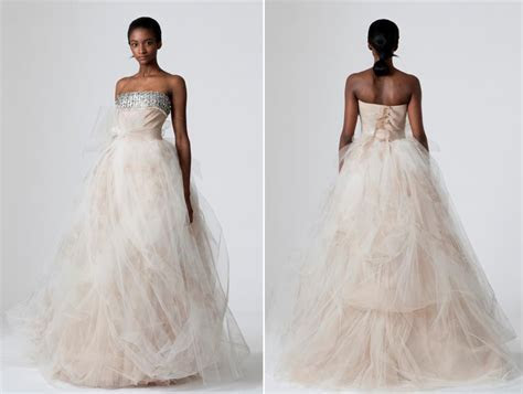 Strapless very light blush pink tulle wedding dress from