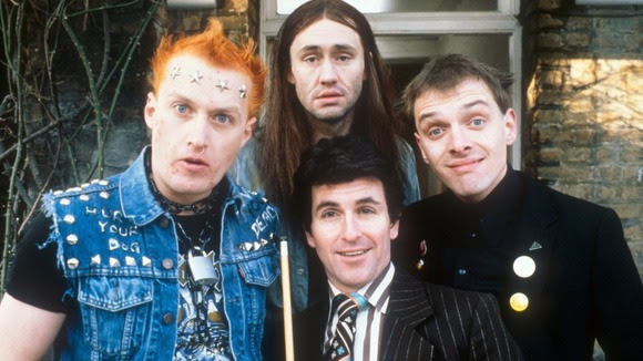 The Young Ones (L-R) Vyvyan (Adrian Edmondson), Neil played by Nigel Planer, Mike played by Christopher Ryan and Rick played by Rik Mayall.