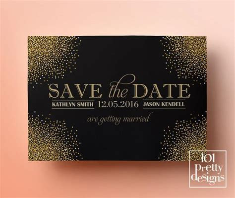 Printable save the date template gold glitter save the