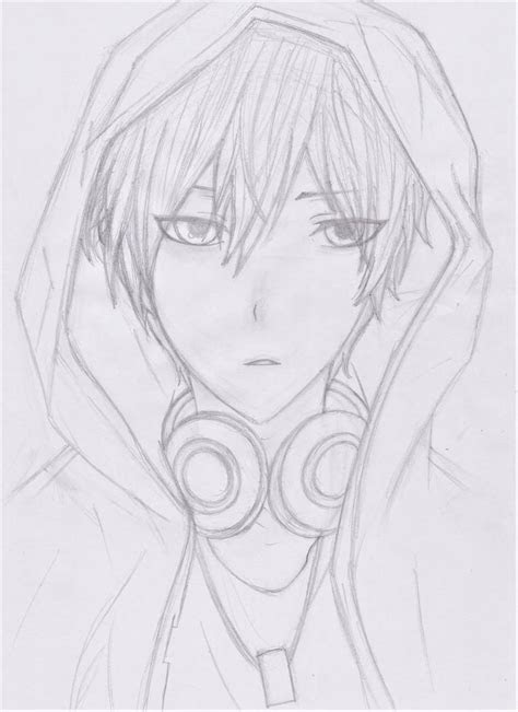 cool anime boy  hoodie  headphone  rayqvn