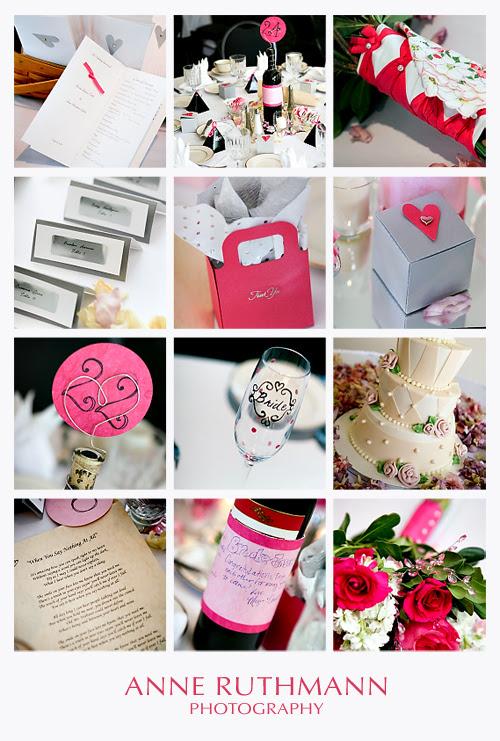 Hot Pink & Silver Real Wedding Details Inspiration Board