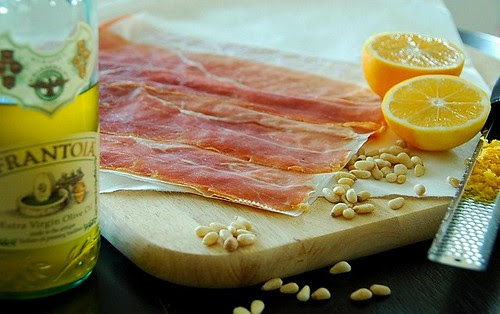 extra virgin olive oil, proscuitto, Meyer lemons, and pinenuts